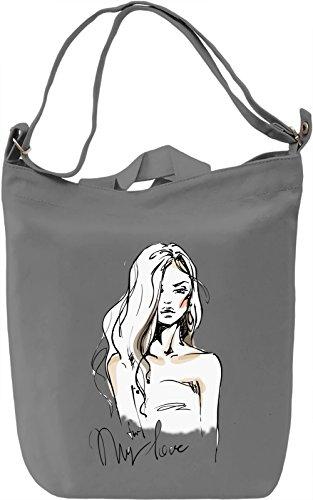 Girl With The Wavy Hair Borsa Giornaliera Canvas Canvas Day Bag| 100% Premium Cotton Canvas| DTG Printing|