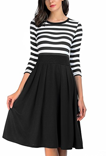 3 4 sleeve black and white striped dress - 9
