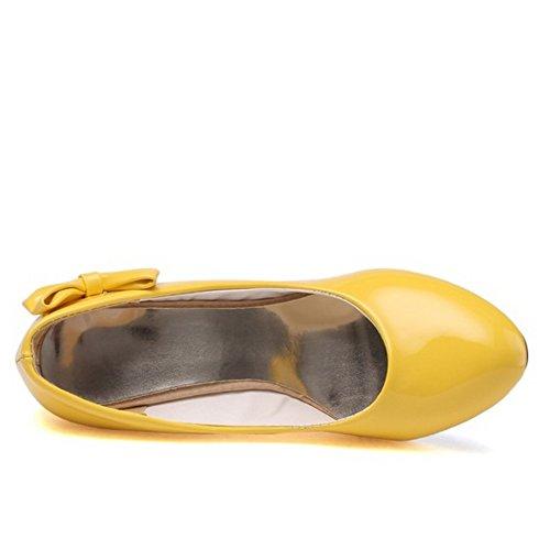 Compensé Taoffen Chaussures Bowknot De Mode Escarpins Femmes Travail Jaune Enfiler A q5rRqHn