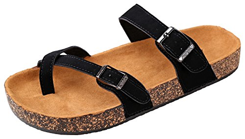 (Annas Fashion Womens Slip On Cross Toe Thong Cork Sole Slide Sandal with Buckle, Black, 10)