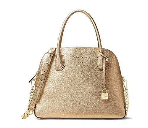 MICHAEL Michael Kors Womens Mercer Metallic Leather Satchel Handbag Gold Medium