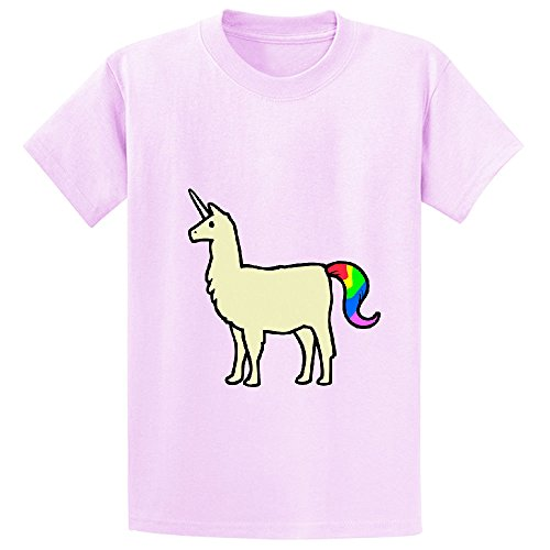 Llamacorn Yellow Youth Crew Neck Graphic T Shirts Pink