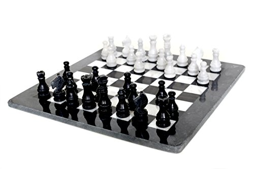 (RADICALn 16 Inches Handmade Black and White Large Weighted Marble Full Chess Game Set Staunton and Ambassador Style Tournament Chess Sets -Non Wooden Metal -Non Magnetic -No Digital Dgt -Not)