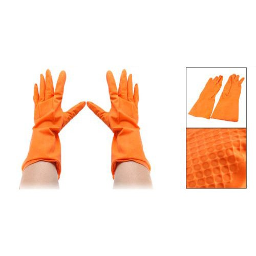 SODIAL(R) Orange Rubber Dish Clothes Washing Cleaning Gloves Pair