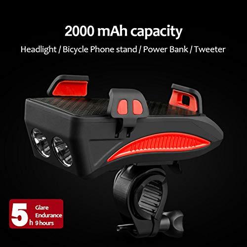 soporte para tel/éfono m/óvil a prueba de choques con banco de energ/ía Juego de luces delanteras para bicicleta recargable con 4 funciones l/ámpara de LED Super brillante de bocina para ciclismo,Orange
