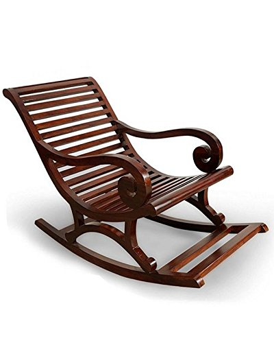 NA ENTERPRISESS Solid Sheesham Wood Stylish Rocking Chair/Adult Chair/Relax Chair for Living Room/Garden & Outdoor (Brown)