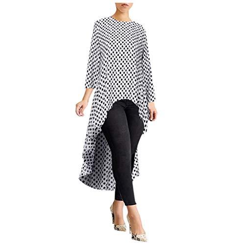 aihihe High Low Tops for Women Long Sleeve Peplum Blouses Plus Size Asymmetrical Elegant Tunic Tops Shirts Dress