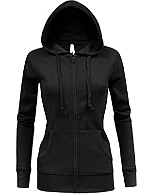 BEKDO Womens Solid Lightweight Mirco Waffle Thermal Zip Up Hoodie Jacket