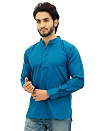 Atasi Ethnic Men's Short Kurta Mandarin Collar Cotton Shirt
