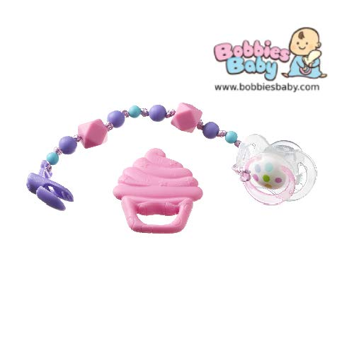 Nuby Dummy Clip with Uber Dummy 0-18m (Cupcake)