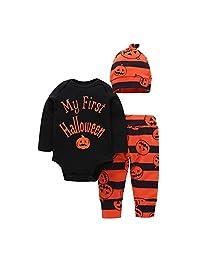 Baby Boys Girls Halloween Pumpkin Long Sleeve Romper Pants Hat 3Pcs Clothing Set