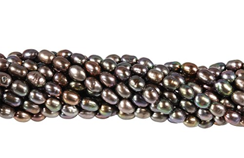 - 2 Strands 15 1/2 Inch 4-4.5 mm Peacock Color Rice Freshwater Pearls