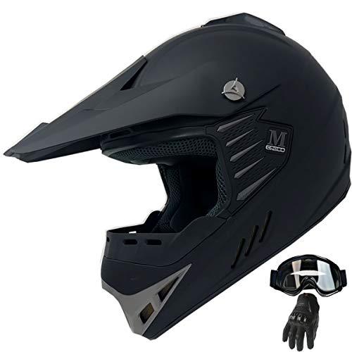 Kid Youth ATV Motocross Dirt Bike Off-road Helmet Mountain Bike Helmet+Goggles+Gloves Combo (Matt Black, ()