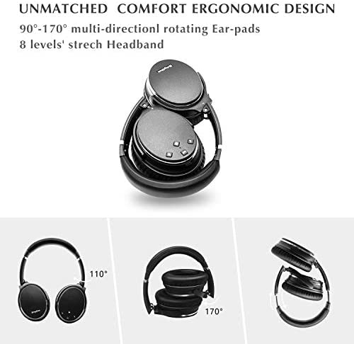 Noise cancelling headphones wireless bluetooth 5.0 fast charge low latency
