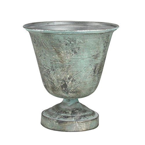 10.25'' Simply Elegant Distressed Silver and Verdigris Decorative Metal Urn Planter by Allstate