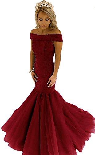 Beaded Cyrstal Mermaid Charming Dress Dressylady Evening Shoulder Prom The Burgundy Formal Off IwXIqTZ
