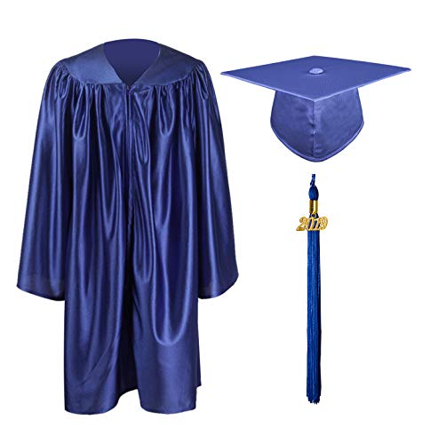 Kindergarten Cap And Gown (GraduationMall Shiny Kindergarten & Preschool Graduation Gown Cap Set with 2019 Tassel Royal Blue)