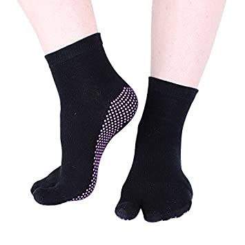 4a5eb7148e6 Hoopomania® One Toe Yoga socks with anti-slip effect by rubber nubs in black