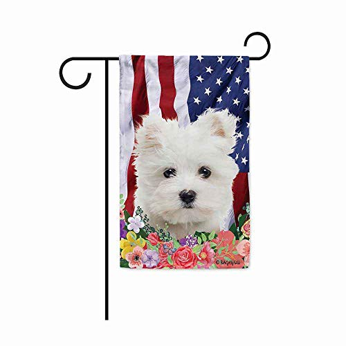 BAGEYOU American Flag with My Love Dog Maltese 4th of July Patriotic Decoraive Garden Flag for Outside Colorful Flowers Summer Home Decor Banner 12.5X18 Inch Printed Double Sided
