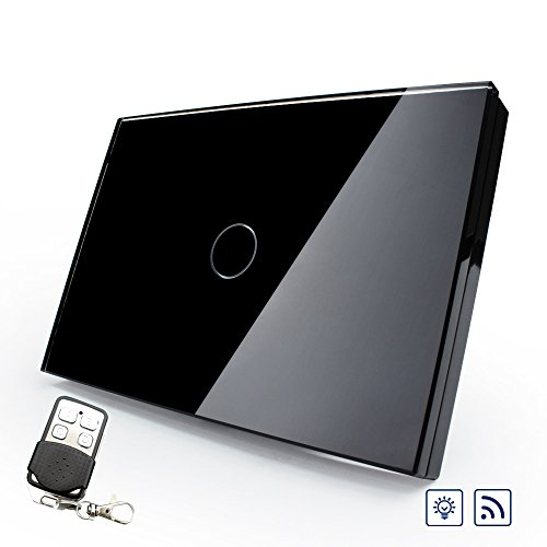 Wallpad Smart Home Black Glass Panel RF Remote LED Dimmer Touch Switch ( Remote Controller Included) WK-USY-RD1B