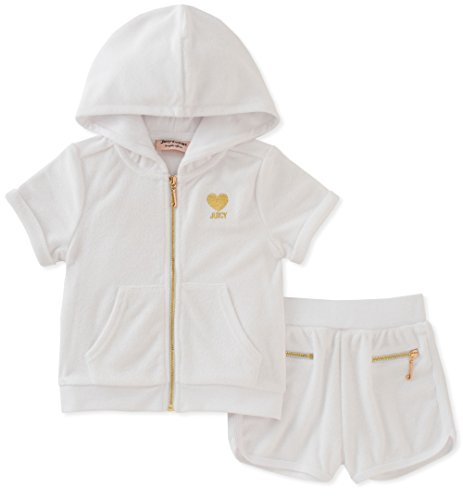 (Juicy Couture Toddler Girls' 2 Piece Hoodie & Short Set, White, 2T)
