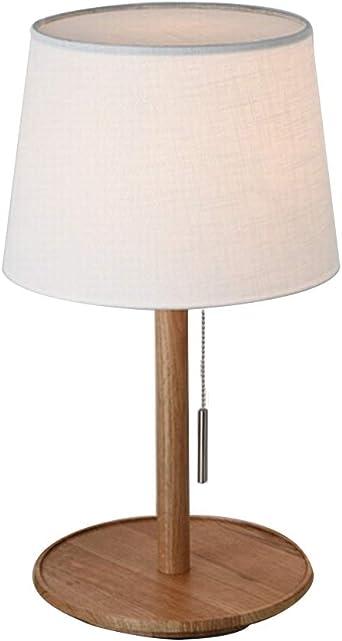 E27 Lamparas de mesa Con pantalla de tela de lino, Simple Madera ...