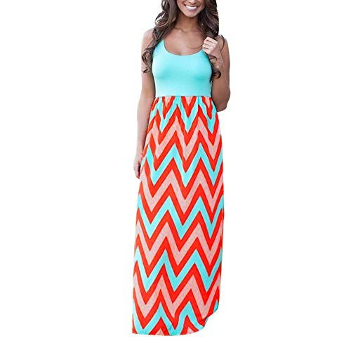 (LINKIOM Skirts for Women Knee Length, Women Plus Size Striped Long Boho Dress Lady Beach Summer Sundrss Maxi Skirt(XXX-Large,F))