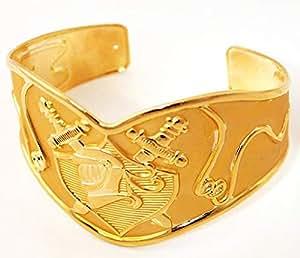 18k Real Gold Plated Vintage Saint Paladin Swords Men's Cuff Bracelet