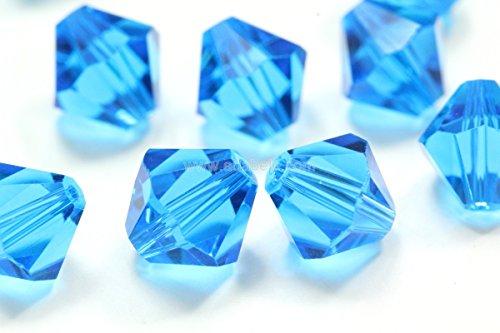 100 6mm Adabele Austrian Bicone Crystal Beads Capri Blue Alternative For Swarovski Preciosa Crystalized 5301/5328 (Jasper 6mm Cube Gemstone Beads)