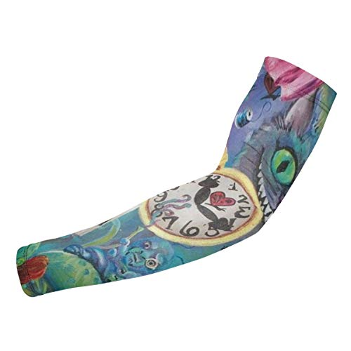 Alice In Wonderland Arm Sunscreen Sleeve For Daily Work & Contact Sports, Moisture Wicking To Keep You Dry & Cool, Includes 1 Pair -