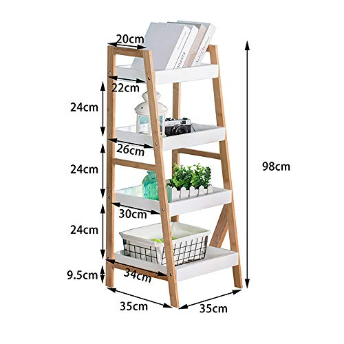Bookshelf Xiaomei, Bamboo Living Room Ladder Students Nordic Solid Wood Floor Racks Bookcases Flower Stand (Size : 983535cm)
