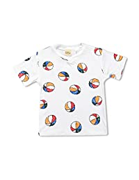 Little Boys Girls Ball Short Sleeve BFF White T-Shirt Tops Tee