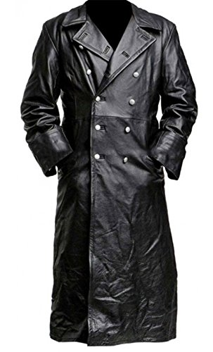 NM Fashions German Classic Officer Leather Black Trench Coat (Black Classic Trench Coat)