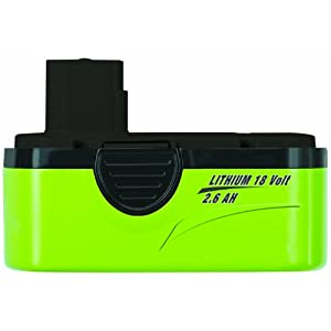 Earthwise BL91026 Replacement 18-Volt 2.6-Amp Lithium Ion Battery For Models LST10012, LHT11122, LB21018, LCS31010, LPS41010