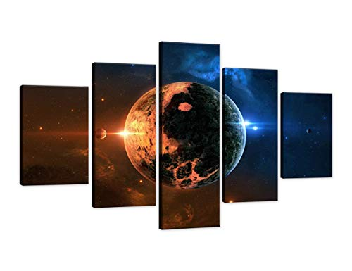 rt Blue Outerspace Star Painting on Canvas Nebula Abstract Universe Pictures 5 Piece Planet Earth Print For Home Modern Decoration Framed for Living Room Ready to Hang(60''Wx32''H) ()
