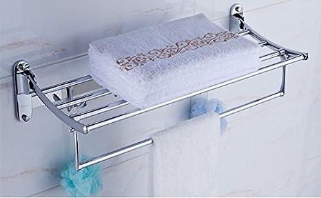 Toalla de baño o cocina Bar titular de Rack de almacenamiento de montaje en pared,organizar todo el estante con toallas y toallas,Acero Inoxidable 50cm: ...