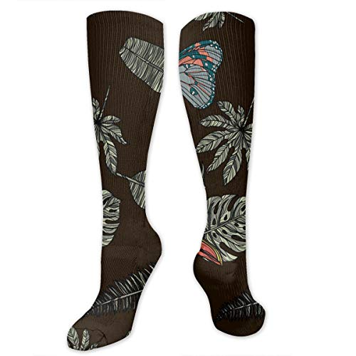 Leaves Butterfly and Toucan Compression Socks for Women and Men - Best Medical,for Running, Athletic, Varicose Veins, Travel.