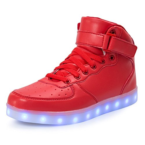 TUTUYU Kids 11 Colors LED Shoes High Top Fashion Sneakers For Halloween Red 32