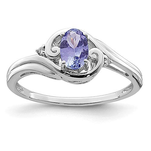 925 Sterling Silver Diamond Blue Tanzanite Band Ring Size 9.00 Gemstone Fine Jewelry Gifts For Women For Her ()