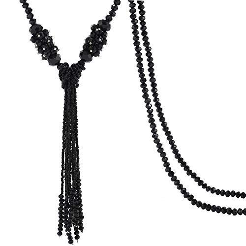 BaubleStar Black Rhinestone Crystal Long Beaded Tassel Necklace for Women Girls Bead Chain Tassel Statement Y Necklace Fashion Jewelry B70B