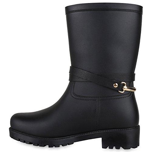 Stiefelparadies Damen Kinder Stiefeletten Stiefel Chelsea Gummistiefel Lack Profilsohle Flandell Schwarz Nieten