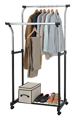 Finnhomy Double Rail Adjustable Rolling Garment Rack with Wi