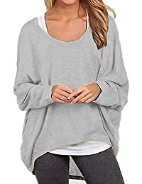 Women's Casual Tunic Tops Oversized Long Batwing Sleeve Off-Shoulder Pullover Sweater