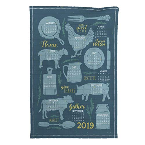 Roostery 2019 Tea Towel Calendar Modern Farmhouse Kitchen Decor Farm Fresh Vintage by Zirkus Design Special Edition Linen Cotton Tea Towel