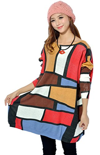 Smile YKK Womens Knitted Sweater Stripe Plaid Loose Jumper Pullover Tops White