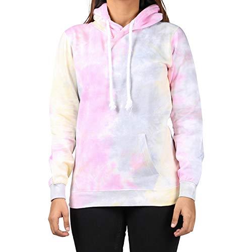 Kara Hub Tie Dye Hoodie Pastel Tie-Dye Hoodies Long Sleeve Pullover Hooded Sweatshirt (Medium, Pastel Storm Thick Drawcord)