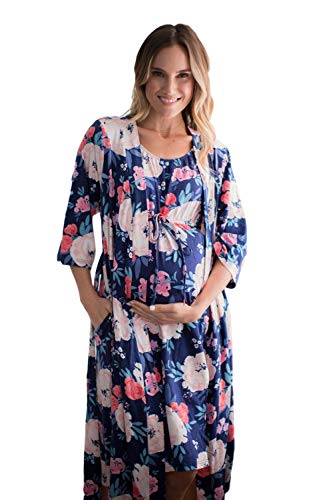 3 in 1 Maternity Labor Delivery Nursing Hospital Birthing Gown & Matching Robe (S/M pre Pregnancy 2-12, Annabelle)