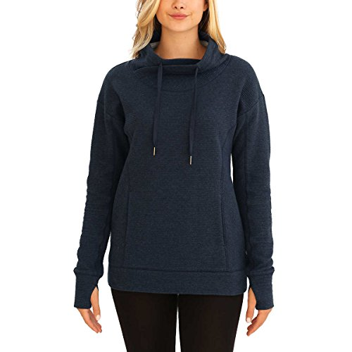 KS Kirkland Signature Ladies' Mock Neck Pullover (Medium, Blue)
