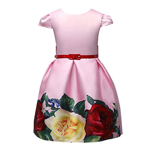 Nosii Kids Girls Dresses Princess Wedding Party Dress Pink 7-8 (Big Puffy Dresses For Halloween)