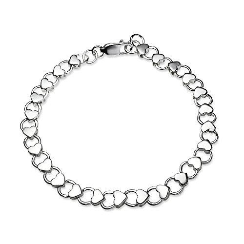 Sterling Silver High Polished Heart and Circle Link Chain Bracelet, 7.25 Inches